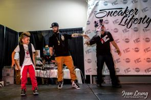 B Swagg showing Freehand Profit and Jamie from Drunk Off Shoes some dance moves