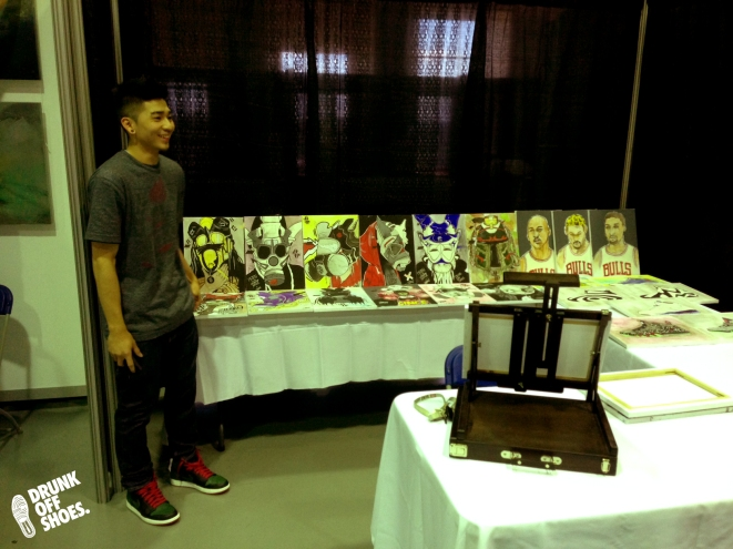 Jonas (@jgbxxii) displaying his work at Sneaker Lifestyle 2013