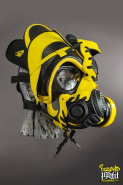 "Nike Dunks ""Black & Maize"" Gas Mask by Freehand Profit"