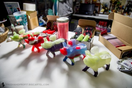 These Flying Pigs (Fat Chance Crew mascot) are actually excess resin mixed while creating lace locks, the excess is poured into a back up mold and these multi-colored flighty piglets are the outcome.