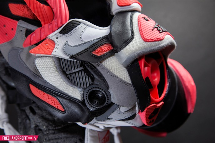 """Nike Air Max 90 """"Infrared"""" Gas Mask by Freehand Profit"""