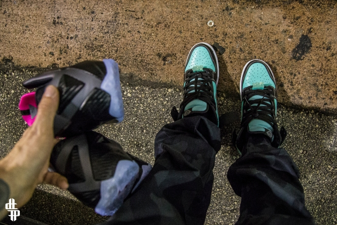 "@freehandprofit's kicks for the shoot. ""Tiffany"" Dunk Highs with ""Aqua K"" Kryptolocks"