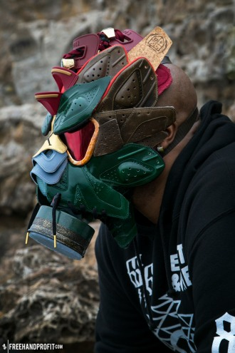 The Cigar & Champagne VI Gas Mask, mask & photo by Freehand Profit, Worn by @braingang_brooks at the Sutro Bath Ruins.