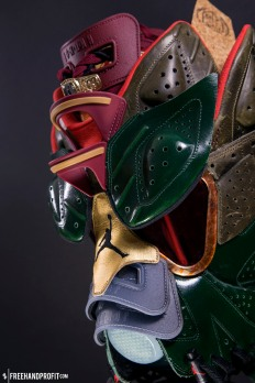 The Cigar & Champagne VI Gas Mask is the 96th sneaker mask by Freehand Profit and is made from 2 pairs of retro Jordan VIs.