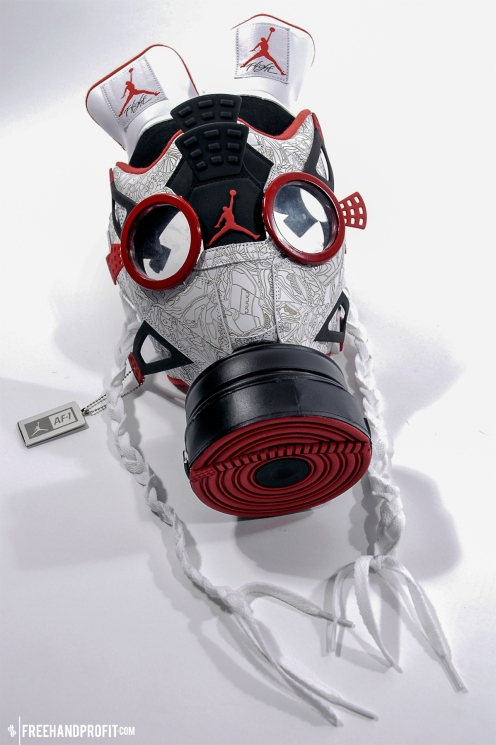 The 12th sneaker mask created by Freehand Profit. Made from a pair of Air Jordan 4 x Air Force 1 Fusions. Find out more about the work on FREEHANDPROFIT.com.