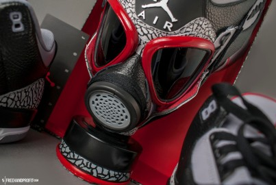 The 15th sneaker mask created by Freehand Profit. Made from 1 pairs of 2011 Air Jordan 3 Retros. Find out more about the work on FREEHANDPROFIT.com.