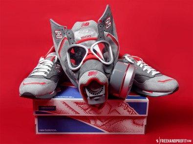 The 17th sneaker mask created by Freehand Profit. Made from 1 pair of Nice Kicks x New Balance 1500s. Find out more about the work on FREEHANDPROFIT.com.