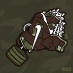 Daily Creation: Brown Camo Dunk Gas Mask vector illustration