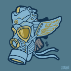 Daily Creation: Denim Wings Gas Mask Vector Illustration