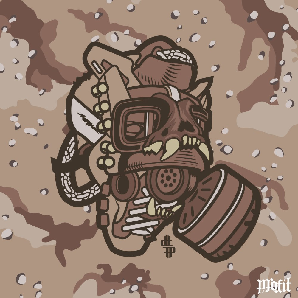 Vector illustration of the USMC Combat Boot Gas Mask by Freehand Profit