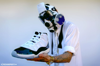"""The 18th sneaker mask created by Freehand Profit. Made from 1 pair of Air Jordan 11 (XI) """"Concords"""". Find out more about the work on FREEHANDPROFIT.com."""