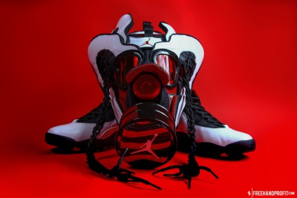 "The 20th sneaker mask created by Freehand Profit. Made from 2 pairs of 2012 Air Jordan ""Chicago X""s. Find out more about the work on FREEHANDPROFIT.com."
