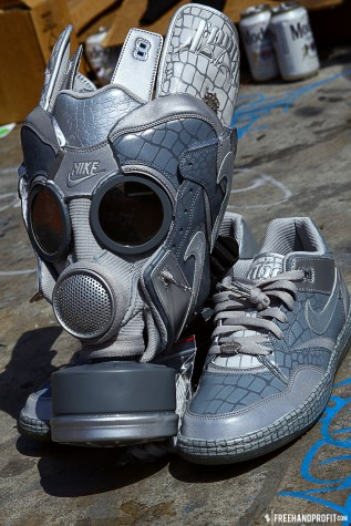 "The 21st sneaker mask created by Freehand Profit. Made from 1 pair of Nike Sky Force 88 ""Mighty Crown"". Find out more about the work on FREEHANDPROFIT.com."