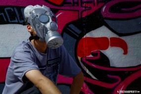 """The 21st sneaker mask created by Freehand Profit. Made from 1 pair of Nike Sky Force 88 """"Mighty Crown"""". Find out more about the work on FREEHANDPROFIT.com."""