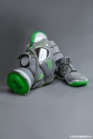 """The 23rd sneaker mask created by Freehand Profit. Made from 1 pair of the super rare """"Dunkman"""" LeBron IV. Find out more about the work on FREEHANDPROFIT.com."""