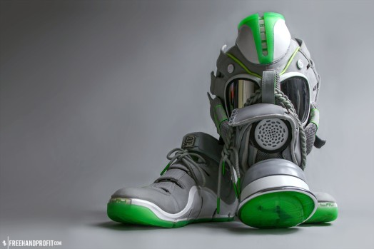 "The 23rd sneaker mask created by Freehand Profit. Made from 1 pair of the super rare ""Dunkman"" LeBron IV. Find out more about the work on FREEHANDPROFIT.com."