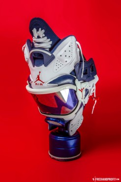 "The 25th sneaker mask created by Freehand Profit. Made from 1 pair of 2012 Air Jordan Retros ""Olympic"" VI (6). Find out more about the work on FREEHANDPROFIT.com."