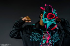 """The 28th sneaker mask created by Freehand Profit. Made from 1 pair of Nike LeBron 8 """"South Beach"""". Find out more about the work on FREEHANDPROFIT.com."""