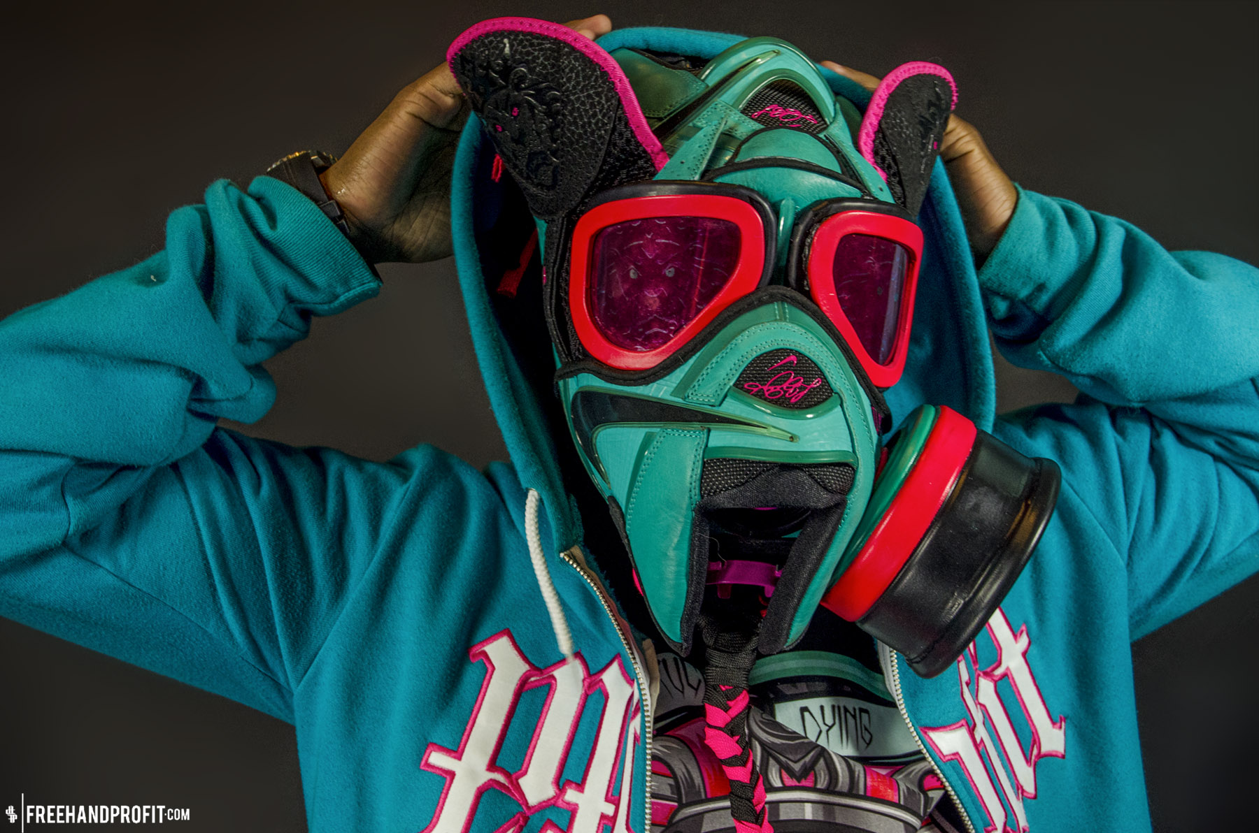 lebron 8 south beach. the 28th sneaker mask created by freehand profit. made from 1 pair of nike lebron lebron 8 south beach
