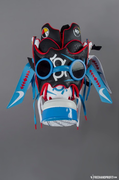The 33rd sneaker mask created by Freehand Profit. Made from 2 pairs of Nike KD IV N7s. Find out more about the work on FREEHANDPROFIT.com.