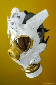 The 35th sneaker mask created by Freehand Profit. Made from 1 pair of Jordan 6 GMPs. Find out more about the work on FREEHANDPROFIT.com.