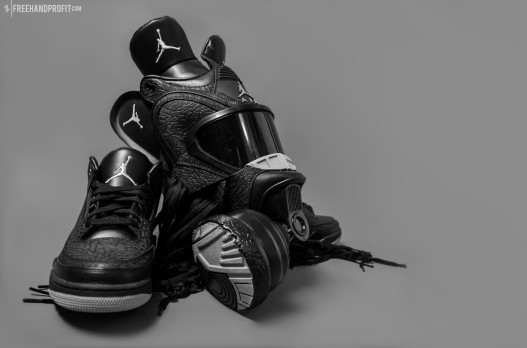 "The 39th sneaker mask created by Freehand Profit. Made from 1 pair of Air Jordan 3 ""Black Flips"". Find out more about the work on FREEHANDPROFIT.com."