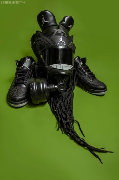 """The 39th sneaker mask created by Freehand Profit. Made from 1 pair of Air Jordan 3 """"Black Flips"""". Find out more about the work on FREEHANDPROFIT.com."""