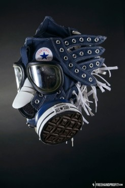 The 93rd sneaker mask created by Freehand Profit. Made from 4 pairs of Converse Chuck Taylors. Find out more about the work on FREEHANDPROFIT.com.