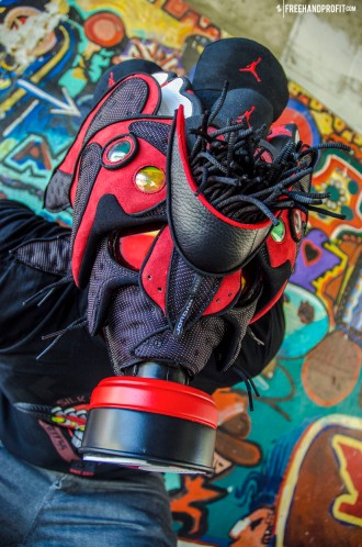 """Created by Freehand Profit. Commissioned by Fresche Lifestyle. Made from 1 pair of 2013 Air Jordan XIII (13) """"Bred""""."""
