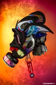 "The 43rd sneaker mask created by Freehand Profit. Made from a single pair of Nike Zoom Rookie ""Galaxy"". Created for @DubStepSlap415 - Find out more about the work on FREEHANDPROFIT.com."