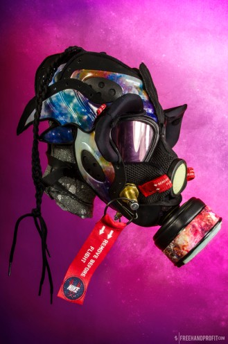 """The 43rd sneaker mask created by Freehand Profit. Made from a single pair of Nike Zoom Rookie """"Galaxy"""". Created for @DubStepSlap415 - Find out more about the work on FREEHANDPROFIT.com."""