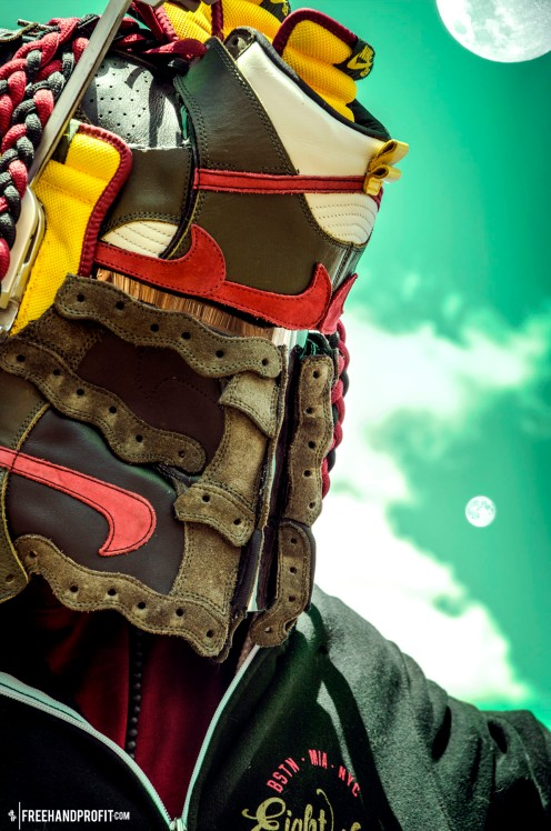 "The 44th sneaker mask created by Freehand Profit. Made from 3 pairs of ""Boba Fett"" Nike Sb Helmet. Find out more about the work on FREEHANDPROFIT.com."