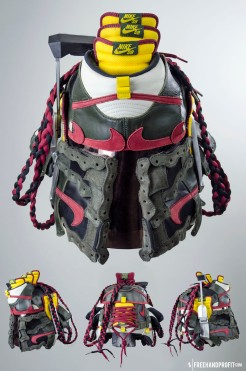 """The 44th sneaker mask created by Freehand Profit. Made from 3 pairs of """"Boba Fett"""" Nike Sb Helmet. Find out more about the work on FREEHANDPROFIT.com."""