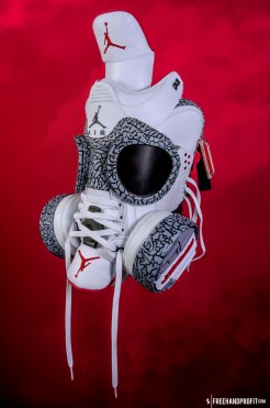 The 46th sneaker mask created by Freehand Profit. Made from 1 pair of 2011 White Cement 3s (Air Jordan III Retros). Find out more about the work on FREEHANDPROFIT.com.