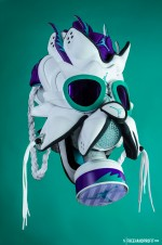 """The 49th sneaker mask created by Freehand Profit. Made from 2 pairs of Air Jordan V """"Grape"""" Retros from 2013. Find out more about the work on FREEHANDPROFIT.com."""
