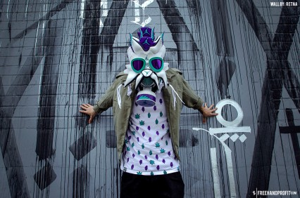 "The 49th sneaker mask created by Freehand Profit. Made from 2 pairs of Air Jordan V ""Grape"" Retros from 2013. Find out more about the work on FREEHANDPROFIT.com."