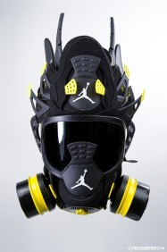 """The 53rd sneaker mask created by Freehand Profit. Made from 1 pair of Air Jordan Retro """"Thunder"""" IVs (4s). Find out more about the work on FREEHANDPROFIT.com."""