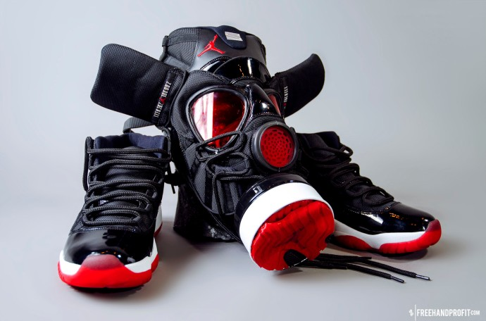 The 56th sneaker mask by Freehand Profit, commissioned by Sly Delvecchio. Made from 1 pair of 2012 Air Jordan Retro Playoff XIs (Bred 11)