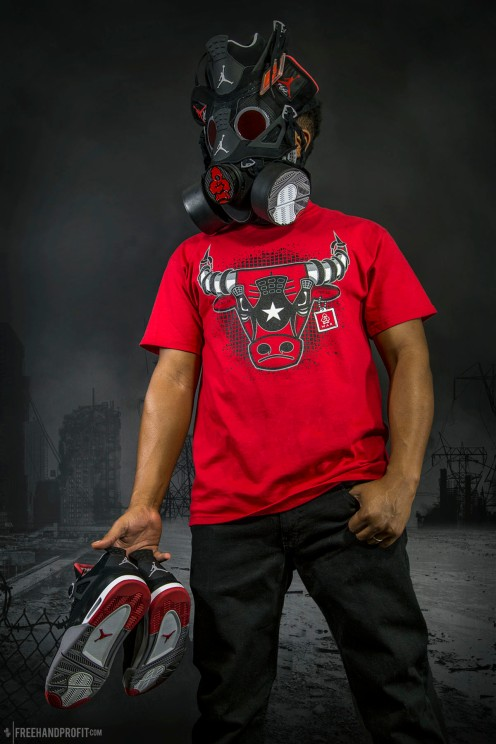 """The 58th sneaker mask created by Freehand Profit. Made from 1 pair of Air Jordan IV (4) """"Black Cement / BRED"""". Commissioned by Rufnek Clothing. Find out more about the work on FREEHANDPROFIT.com."""