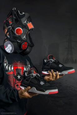 "The 58th sneaker mask created by Freehand Profit. Made from 1 pair of Air Jordan IV (4) ""Black Cement / BRED"". Commissioned by Rufnek Clothing. Find out more about the work on FREEHANDPROFIT.com."