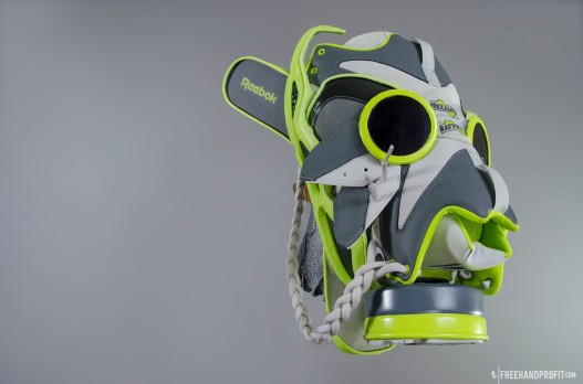The 59th sneaker mask created by Freehand Profit. Made from 1 pair of Reebok Kamikaze III Gas Mask. Find out more about the work on FREEHANDPROFIT.com.