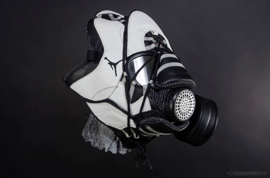 """The 63rd sneaker mask created by Freehand Profit. Made from 1 pair of """"Steel"""" Retro Air Jordan Xs (10s). Find out more about the work on FREEHANDPROFIT.com."""