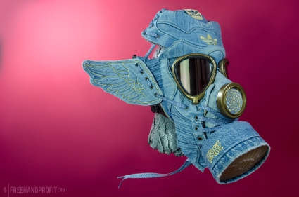 The 67th sneaker mask created by Freehand Profit. Made from 1 pairs of adidas x Jeremy Scott Denim Wings. Find out more about the work on FREEHANDPROFIT.com.