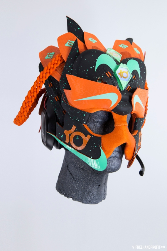 "The 75th sneaker mask created by Freehand Profit. Made from 3 pairs of KD 6 ""Texas"" and a wireless gaming headset by ASTRO Gaming. Find out more about the work on FREEHANDPROFIT.com."