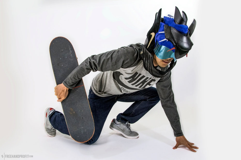 The 76th sneaker mask created by Freehand Profit. Made from 3 pairs of Nike SB Koston 2s. Find out more about the work on FREEHANDPROFIT.com.