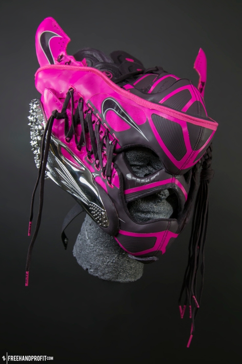"""The 77th sneaker mask created by Freehand Profit. Created for Carmelita """"Jet"""" Jeter. Made from 3 pairs of Nike SuperFly R4 track cleats. Find out more about the work on FREEHANDPROFIT.com."""