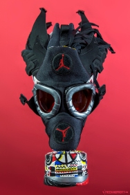 "The 80th sneaker mask created by Freehand Profit. Made from 1 pair of Air Jordan VIII (8) ""Playoff"" Retros from 2013. Find out more about the work on FREEHANDPROFIT.com."