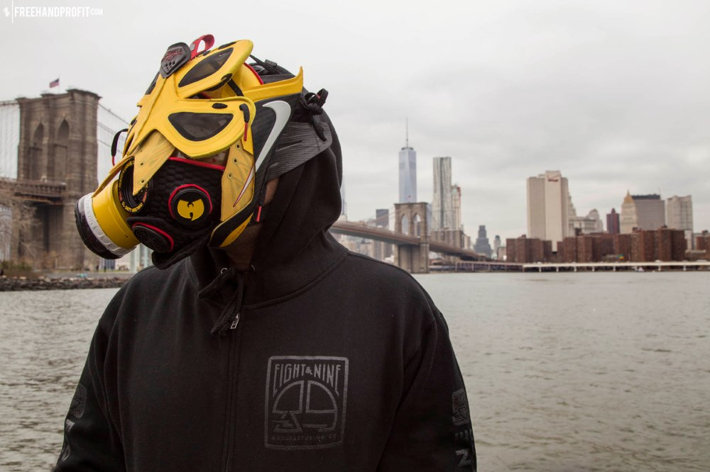 "The 81st sneaker mask created by Freehand Profit. Made from 1 pairs of Lebron 9 Elite ""Taxi"". Find out more about the work on FREEHANDPROFIT.com."