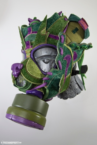 """The 82nd sneaker mask created by Freehand Profit. Made from 1 pair of Nike SB """"Skunk Dunks"""" by Todd Bratrud. Find out more about the work on FREEHANDPROFIT.com."""