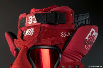 The 84th sneaker mask created by Freehand Profit. Made from 2 pairs of red suede Ewing 33 HI. Find out more about the work on FREEHANDPROFIT.com.
